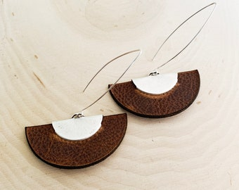 BROWN LEATHER Earrings - Fan Earrings - Silver and Brown - Drop Earrings - Brushed Silver Crimp - Recycled Scrap Leather - Rock and Roll