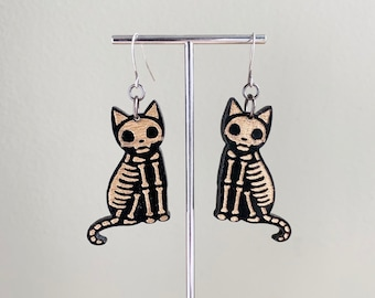 Halloween Cat Earrings - Cat Skeleton - Black and Gold Laser Cut - Spooky Cat - Cat Lady - Acrylic - Lightweight - Kitty Cats