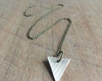 Recycled Drum Cymbal Triangle Necklace - Long - Drummer - Cymbals - Music Lover - Gift for Musician - Rock and Roll