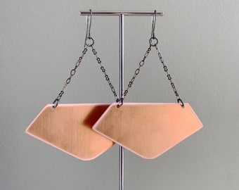 Big COPPER Earrings - Statement Jewelry - BIG and BOLD - Copper and Gun Metal - Festival Jewelry - Edgy - Awesome - Feminine
