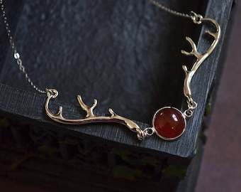 Carnelian Necklace - Blood Moon, Silver Antlers Pendant, Deer Antlers, Red Agate, Horns, Elven Jewelry, Witchy, Gift for her, Pagan, Wiccan