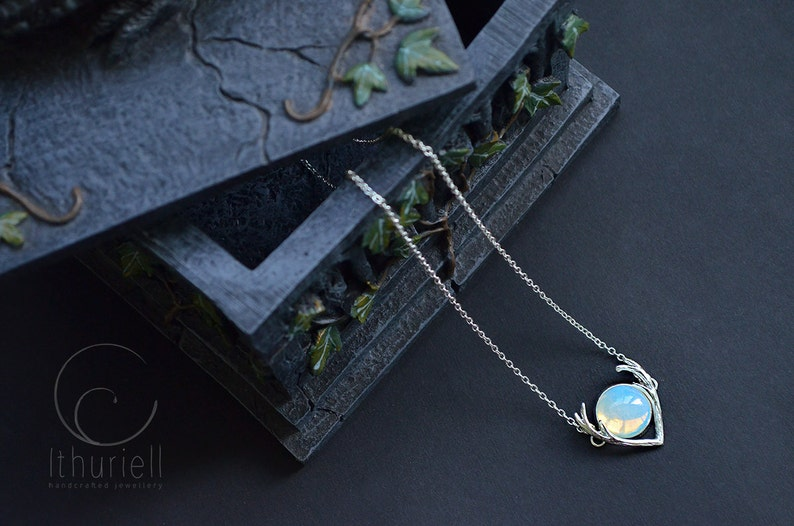 Moonstone Necklace  Tiny Moon Opalite Pendant image 1
