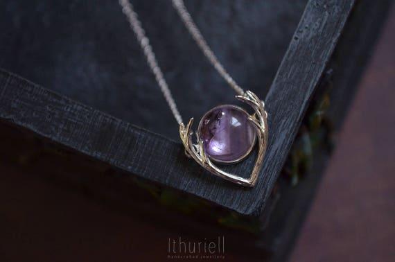 Amethyst Necklace - Purple Dusk, Antler Pendant, Ultraviolet, Gemstone Pendant, Silver Antlers, Deer Princess, Gift for Her, Gift for women