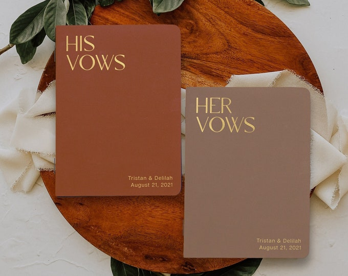 Vow books perfect for your wedding or vow renewal, Boho neutral colors, Gold silver rose gold foil available, Cute booklet for him or her