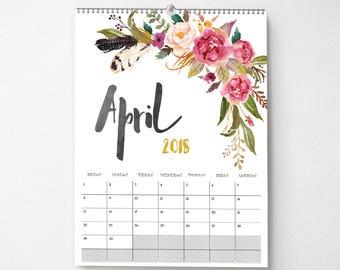 2018 Wall Calendar, 11x14, Wall Calendar, Watercolor Flower (cal0045)