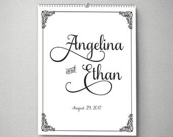 Alternative wedding guest book, Custom guestbook Calendar, 11x14, Perpetual Calendar, cal0050