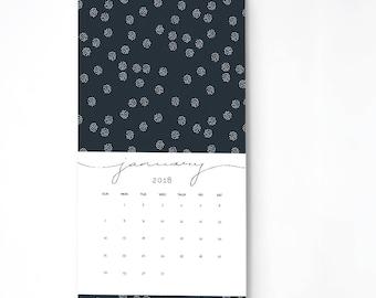 2018 Monthly Wall Calendar, 9.5 x 17.25, Wall Calendar, Gift for Her  (cal0009)