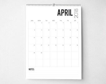 2018 Wall Calendar, 8.5x11, Wall Calendars, Modern Gifts for Him  (cal0056)