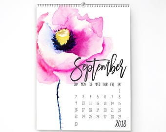 2018 Monthly Wall Calendar, 11x14, Wall Calendar, with Watercolor Flowers  cal0013
