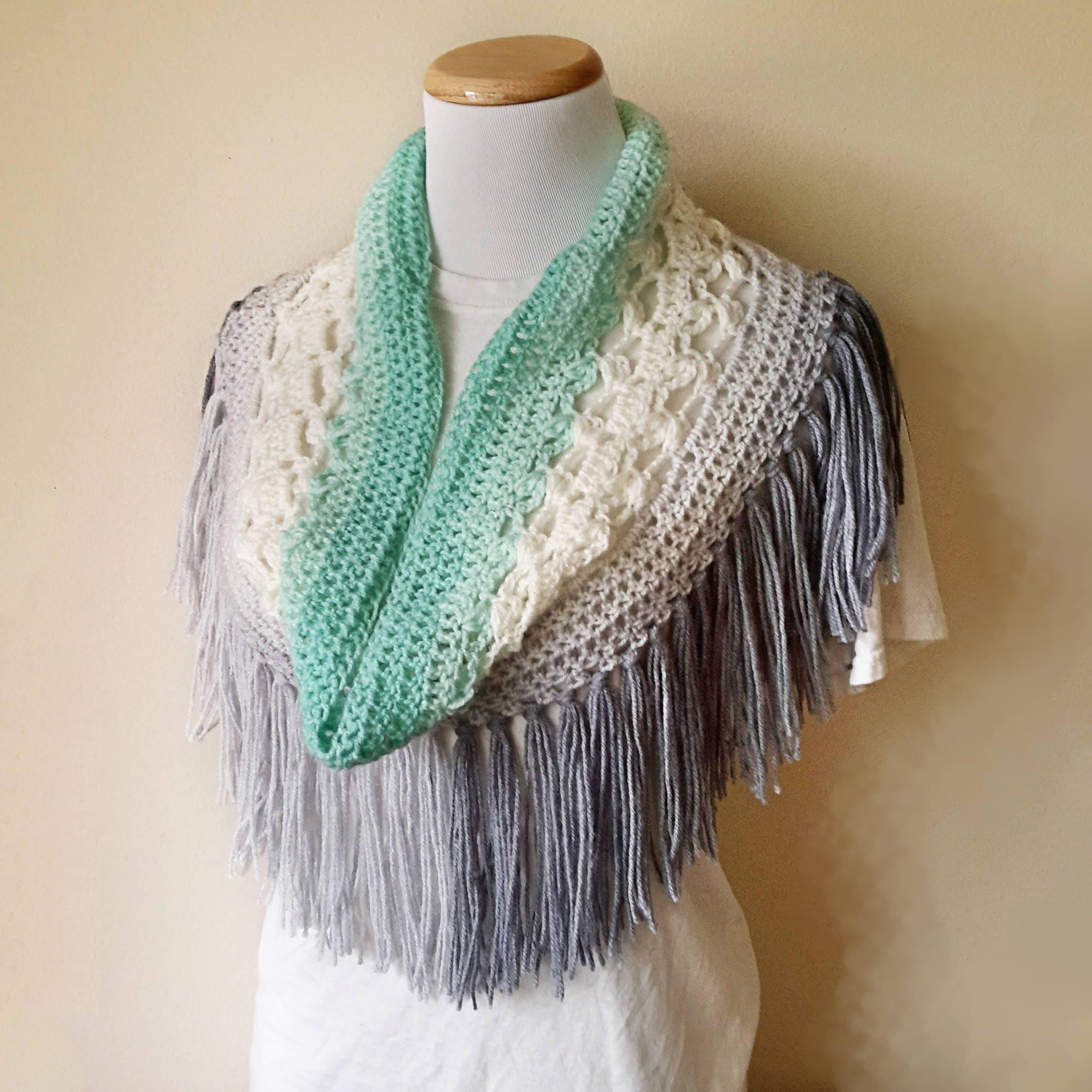 Crochet Fringe Scarf Pattern Fringed Cowl Crochet Beginner Etsy