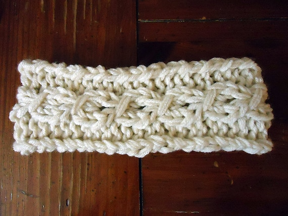Knitted Cable Headband Knit Headband Knit Pattern Etsy