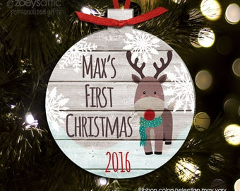 First Christmas deer personalized ornament - gift for newborns - baby's first Christmas BFCDEER