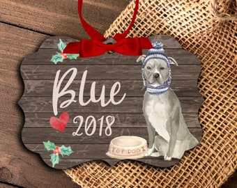 blue pit bull ornament | funny personalized pit bull ornament | pet dog ornament | Blue Pittie Christmas Ornament MBO-044