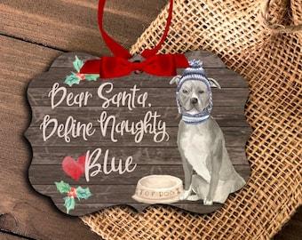 funny blue pit bull ornament | funny personalized pit bull ornament | pet dog ornament | Blue Pittie Christmas Ornament MBO-043