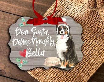 funny bernese mountain dog ornament | personalized bernese mountain dog ornament | pet dog ornament | mountain dog holiday ornament MBO-046
