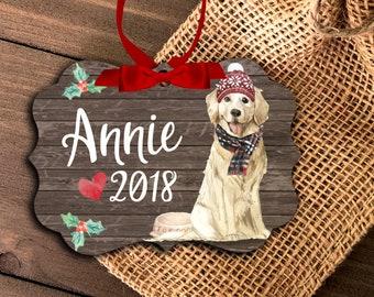 golden retriever ornament | personalized golden ornament | pet dog ornament | golden retriever Christmas ornament MBO-049