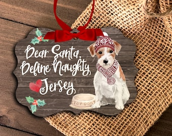 Funny Jack Russell terrier ornament | personalized jack russell ornament | define naughty dog ornament | terrier Christmas ornament MBO-045