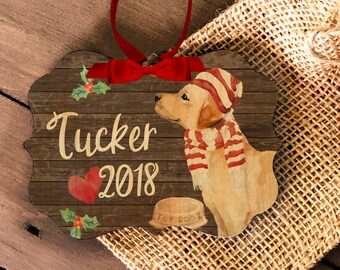 Labrador retriever ornament | personalized labrador ornament | pet dog ornament | lab retriever Christmas wood or metal ornament MBO-052