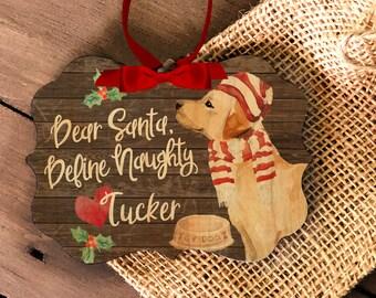 funny labrador retriever ornament | personalized labrador ornament | pet dog wood or metal ornament | labrador Christmas ornament MBO-053