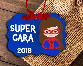 superhero ornament | girl's superhero ornament | spider costume girl ornament | pick your super character | annual girls ornament MBO-041
