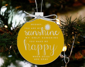 christmas ornament you are my sunshine my only sunshine FRONT and BACK ornament OSFBCO