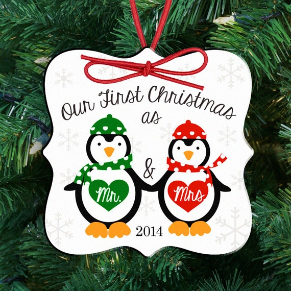 our first christmas ornament   personalized couple/'s first christmas as mr and mrs penguin ornament FCOP