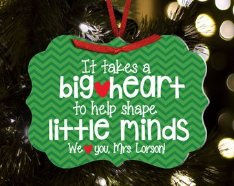 Personalized teacher ornament teacher christmas gift personalized big heart little minds ornament TROBHLM1