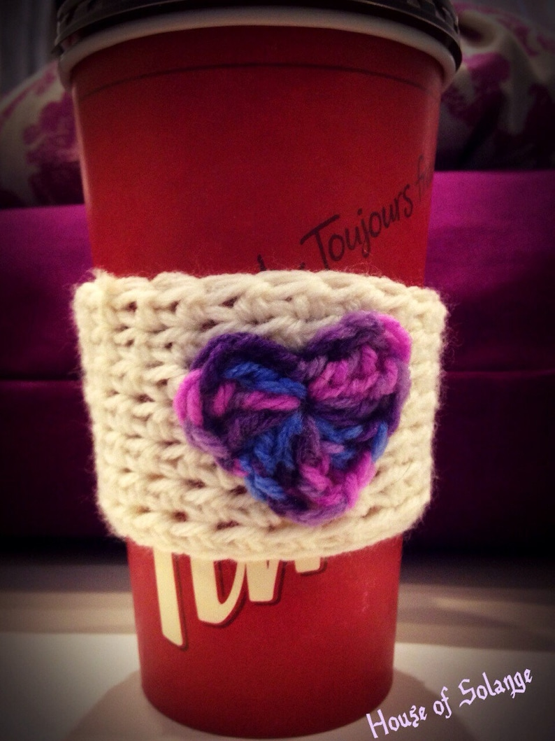 Pink Purple and Blue Heart Cup Cozie Crochet Cup Cozy Heart image 0