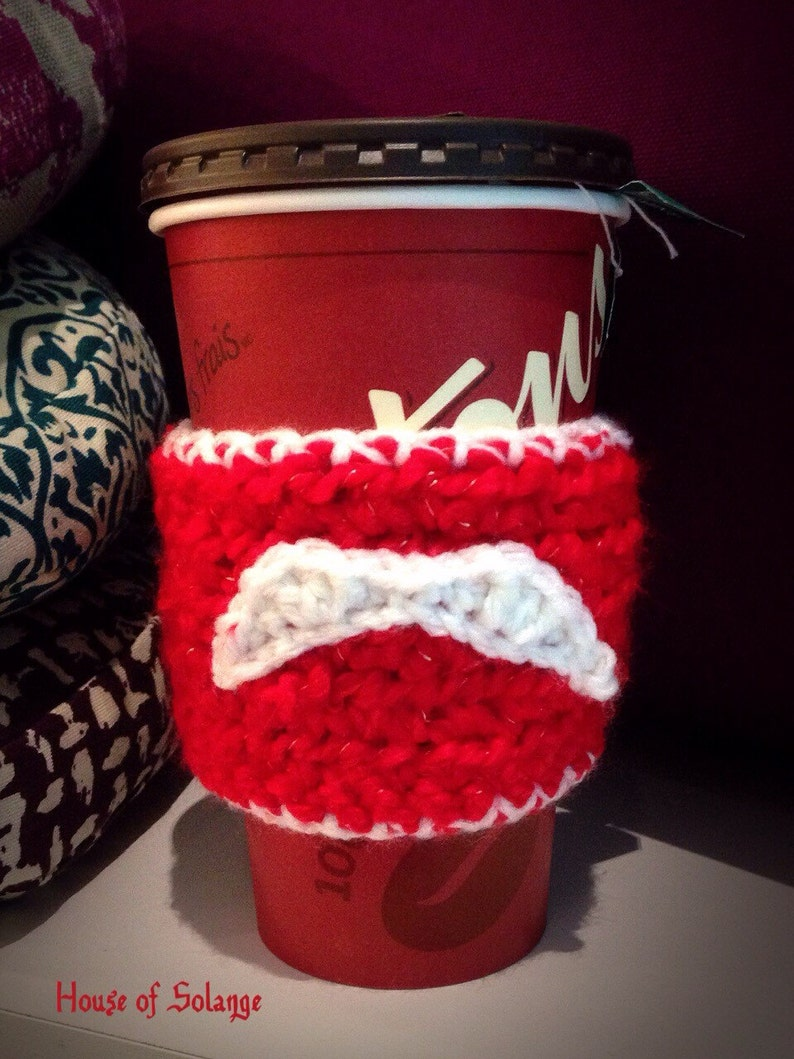 Santa moustache inspired coffee cup cozie Crochet Tea Cozy image 0