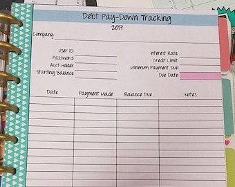 Debt Paydown Tracker PRINTABLE for Classic Happy Planner for 2018