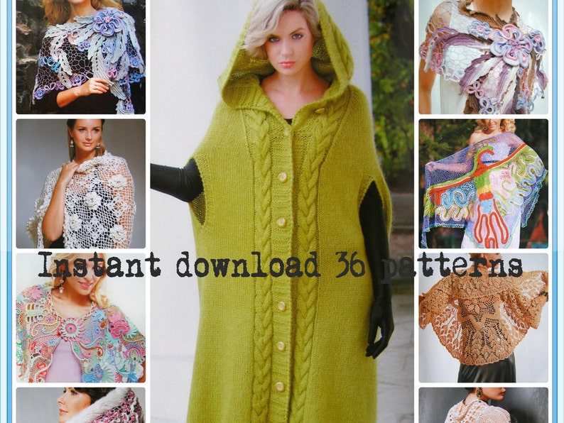 Crochet Patterns  E-book  Instant Download PDF  Irish Lace, Free form  Jacket, Coat, Shawl, Spring - Fall Issue Journal Mod #581