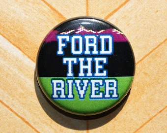 Oregon Trail Ford the River-One Inch Pinback Button Magnet