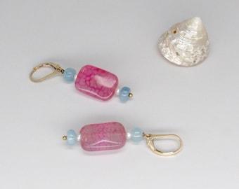 hot pink agate, pearl and aquamarine earrings. hot pink earrings, authentic agate genuine aquamarine, and pearl earrings, colorful earrings
