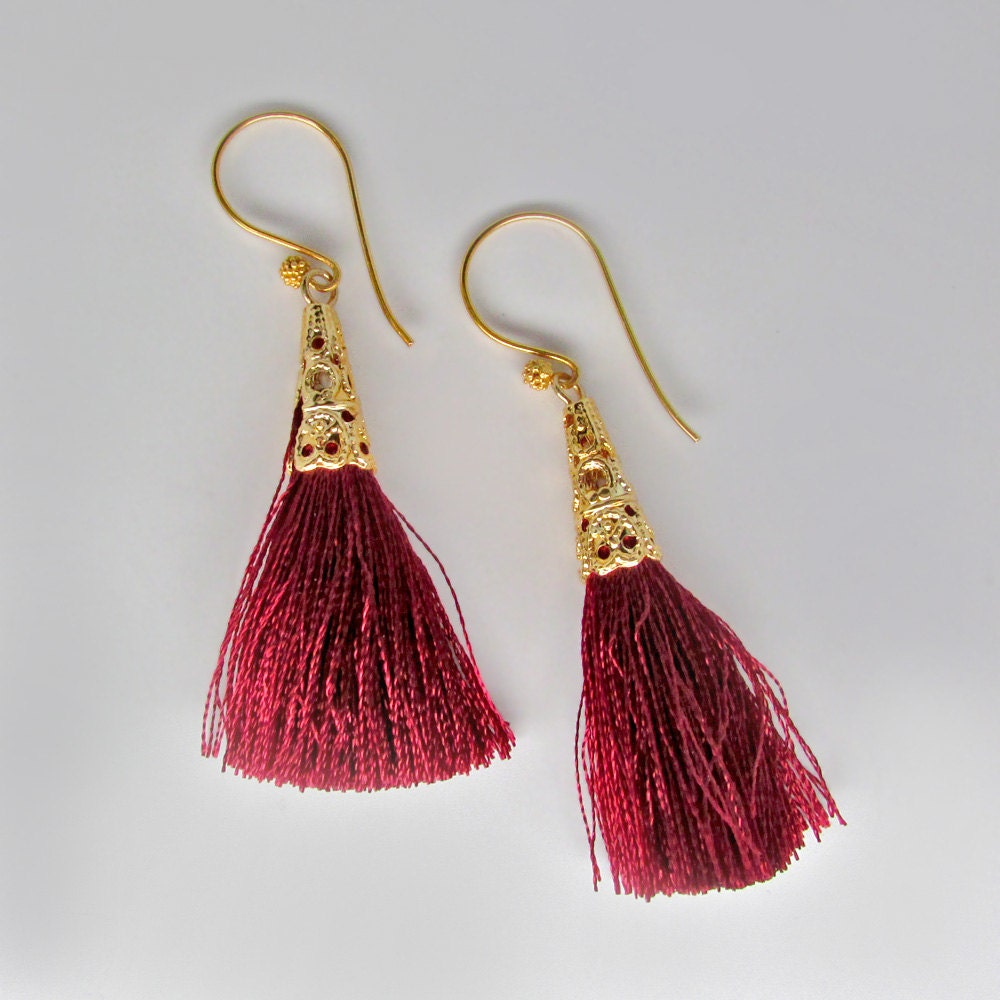 f82b9e28f gold red tassle earrings, 24k gold vermeil red tassel earrings, gold red ...