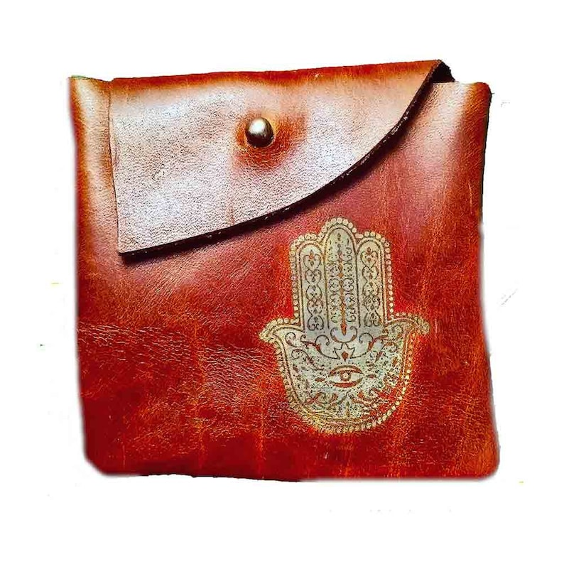 brown leather pouch with hamza print