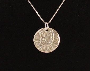 Fiddlehead Fern Design Pendant in Fine Silver Hung on Sterling Silver Chain, Fine Silver Pendant