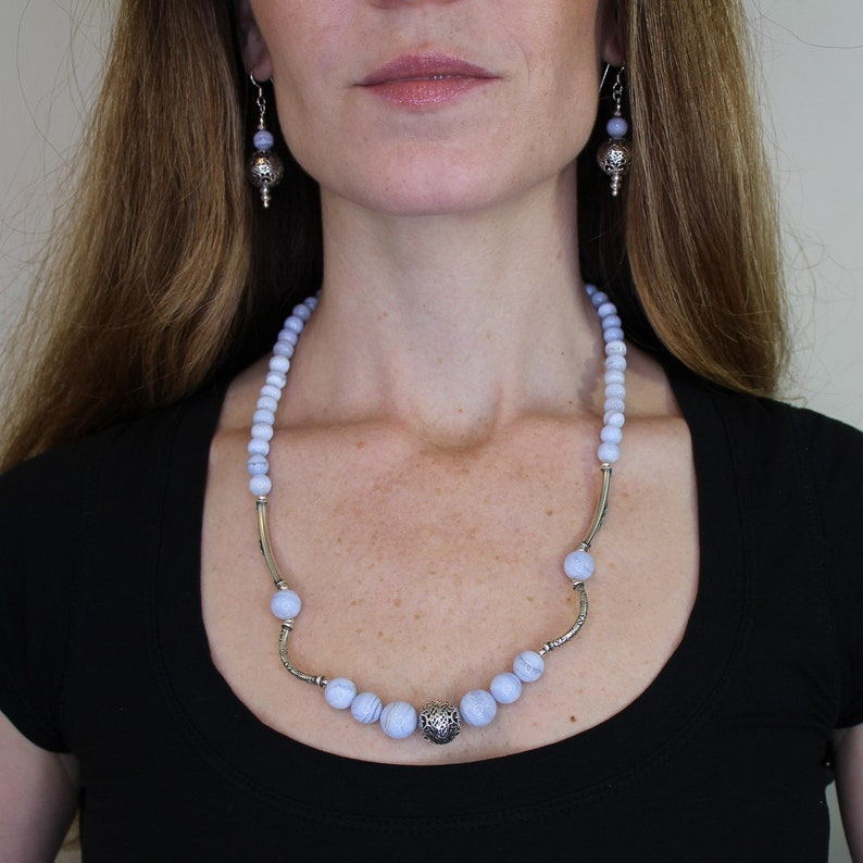 and Hill Tribe Silver Beaded Necklace; Unique Handmade Lace Agate Necklace Bali Silver Unique Handmade Blue Lace Agate