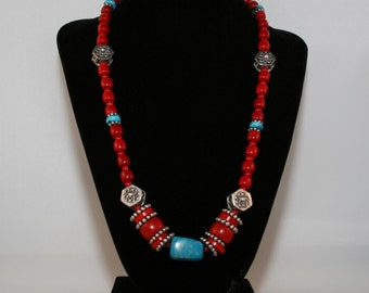 Necklace with Coral, Turquoise, Bali Silver with a Howlite Centerpiece