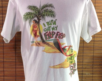 "Vintage 1996 Medium Jimmy Buffett Margaritaville ""I Blew Out My Flip Flop.  Stepped on a Pop Top."" Wastin  Away Again Souvenir Concert T-Shir 35980b2ef560"