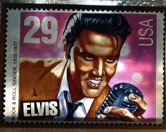 Vintage 1993 Elvis Presley Stained Glass Type Art Of The 29 Cent Stamp Commemorating His Life Measures Approximately 7 1 2 Inches By 5 4