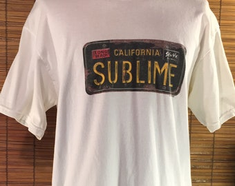 a31ef35cc Vintage 1997 Large Sublime, Long Beach, California License Plate, Skunk  Records Concert Souvenir T-Shirt. Off-white Gildan Activewear Heavyw