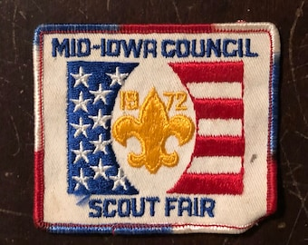 Scout Patch  1972 Highlander Week-End Coleman  3 Girl Scouts Patch  Vintage Patches  Grunge Patches  Punk Patches  Red White blue