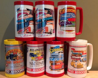 Vintage 1980s/90s set of seven Hot Rod Cars plastic beer mugs including three from the Mid-America Street Rod Nationals and four from the Go