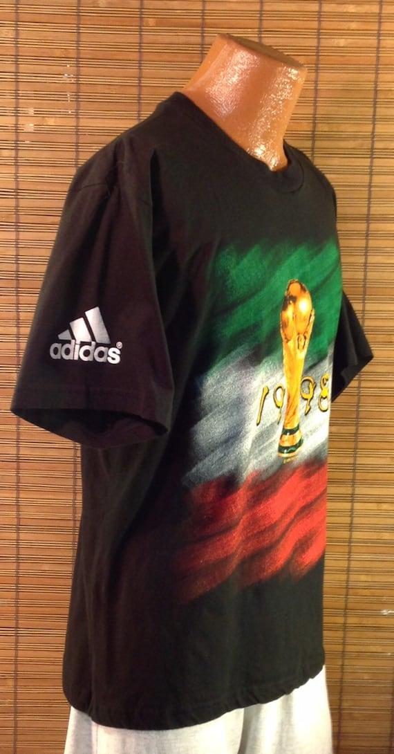 shop best sellers cheaper new arrive Vintage 1998 Medium France 98, Coupe Du Monde, FIFA Soccer World Cup ADIDAS  Commemorative Souvenir T-Shirt. Terrific colorful graphics on th