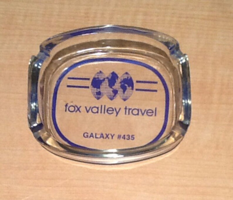 Galaxy #435 Ashtray has great blue graphics and lettering including a Vintage collectible souvenir glass ashtray from Fox Valley Travel