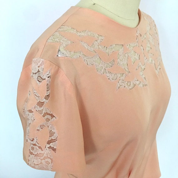Rayon blouse with lace insets & appliques, back bu