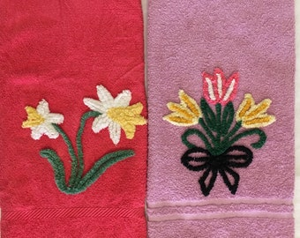 2 Embellished Chenille Towels, Hand Made Vintage 1950s, Daffodils & Tulips