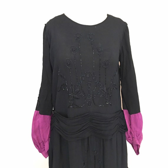 1920's beaded column dress with overskirt and tass