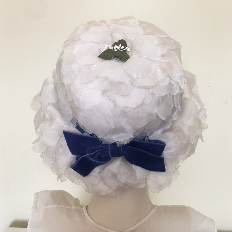 1960s Lace hat with silk petals and blue velvet ribbon bow