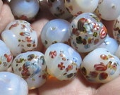 7 Vintage Japanese Opal Glass Beads with Millefiori, Handmade, Lampwork Approx 15.5mm